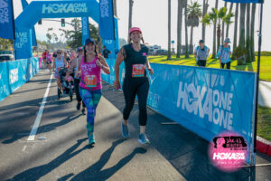 Hallie Avolio & Kacie Jean Fowle crossing the finish line at She is Beautiful Race in Santa Barbara 2019